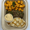 Rustic Grilled Chicken Breast with Herb Quinoa and mustard roasted sweet potatoes