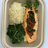 Stuffed Atlantic Salmon Filet with spinach roasted red peppers collard greens and mash celery root